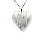 925 Sterling Silver 20mm with Flowers Heart Locket - Chain Included style: QLS233
