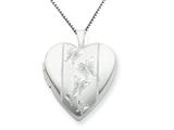 925 Sterling Silver 20mm with Butterflies Heart Locket - Chain Included