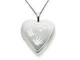 925 Sterling Silver 20mm with Handprints Heart Locket - Chain Included style: QLS235