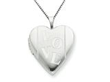 925 Sterling Silver 20mm with LOVE Heart Locket - Chain Included