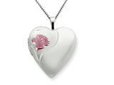 925 Sterling Silver 20mm with Enameled Rose Heart Locket - Chain Included