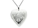 925 Sterling Silver 20mm with Daisies Heart Locket - Chain Included style: QLS242