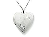 925 Sterling Silver 20mm Double Hearts Heart Locket Necklace - Chain Included style: QLS244