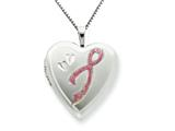 925 Sterling Silver 20mm Enameled Awarness Design Heart Locket - Chain Included