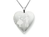 925 Sterling Silver 20mm Boy giving a Heart to Girl Heart Locket - Chain Included style: QLS246