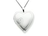 925 Sterling Silver 20mm Heart with Diamond Heart Locket - Chain Included
