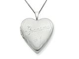 925 Sterling Silver 20mm # 1 Grandma Heart Locket - Chain Included