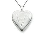 925 Sterling Silver 20mm Grandma Heart Locket - Chain Included