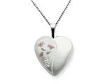 925 Sterling Silver 16mm Enameled Lily Heart Locket - Chain Included