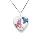 925 Sterling Silver 16mm Enameled Butterfly Heart Locket - Chain Included
