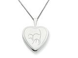 925 Sterling Silver 16mm Cat Heart Locket - Chain Included style: QLS257