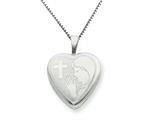 925 Sterling Silver 16mm Cross and Praying Woman Heart Locket - Chain Included