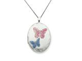925 Sterling Silver 20mm Enameled Butterfly Oval Locket - Chain Included