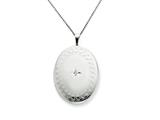 925 Sterling Silver 20mm Oval Diamond Locket - Chain Included style: QLS263