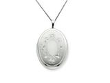 925 Sterling Silver 20mm Oval with Flowers Oval Locket - Chain Included