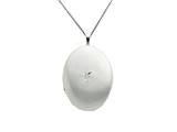 925 Sterling Silver 20mm Diamond Oval Locket - Chain Included