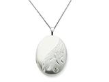 925 Sterling Silver 20mm Side Flowered Oval Locket - Chain Included style: QLS267