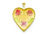 1/20 Gold Filled 20mm Enameled Flowers Heart Locket - Chain Included