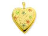 1/20 Gold Filled 20mm Enameled Flowers Mom Heart Locket - Chain Included