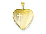 1/20 Gold Filled 16mm Cross Heart Locket - Chain Included style: QLS289