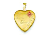 1/20 Gold Filled 16mm Enameled Flower I Love You Heart Locket - Chain Included