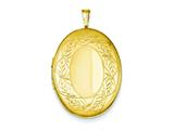 1/20 Gold Filled 20mm Leaf Border Oval Locket - Chain Included style: QLS297