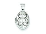 Sterling Silver Teddy Bear Locket style: QLS34