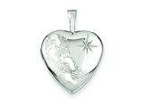 Sterling Silver 16mm D/c Footprints Heart Locket Necklace style: QLS378