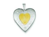 Sterling Silver and Yellow Rhodium 20mm Satin and D/c Cross Locket style: QLS385