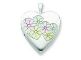 Sterling Silver 20mm Satin and Enameled Hearts and Flower Heart Locket style: QLS397