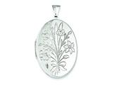 Sterling Silver Floral Bouquet Oval Locket style: QLS3
