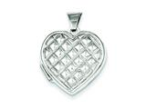 Sterling Silver Quilted Heart Locket style: QLS44
