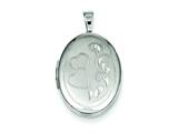 Sterling Silver Two Hearts 19mm Oval Locket style: QLS508