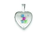 Sterling Silver Enamel Baby Blocks 12mm Heart Locket style: QLS528