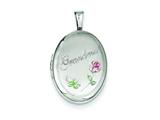 Sterling Silver 19mm Grandma Enamel Roses Oval Locket style: QLS534