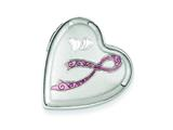 Sterling Silver Enamel Pink Ribbon 20mm Falling Heart Locket style: QLS538