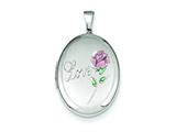 Sterling Silver Love W/ Enamel Rose 19mm Oval Locket style: QLS541
