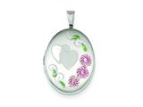 Sterling Silver 19mm Enamel Hearts and Flowers Oval Locket style: QLS543