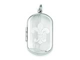 Sterling Silver Fleur De Lis Rectangular Locket style: QLS562