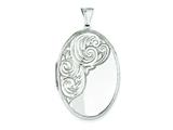 Sterling Silver Scroll Oval Locket style: QLS5