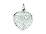 Sterling Silver Heart Locket W/cz style: QLS70