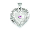 Sterling Silver Pink Cubic Zirconia 18mm Heart Locket style: QLS91
