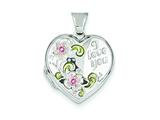 Sterling Silver Floral I Love You 18mm Heart Locket style: QLS92