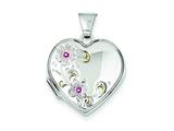 Sterling Silver Floral 18mm Heart Locket style: QLS93
