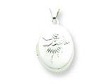 Sterling Silver Fairy 17mm 2-frame Oval Locket style: QLS96