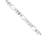16 Inch Sterling Silver 7.5mm Polished Flat Figaro Chain style: QMB180