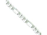 16 Inch Sterling Silver 8.5mm Polished Flat Figaro Chain style: QMB220