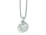 Sterling Silver and Cubic Zirconia Brilliant Embers Swirl Necklace style: QMP471