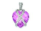 Sterling Silver Pink Cubic Zirconia Pendant - Chain Included style: QP1003
