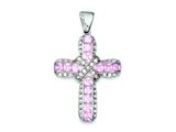 Sterling Silver Pink Cubic Zirconia Cross Pendant - Chain Included style: QP1007